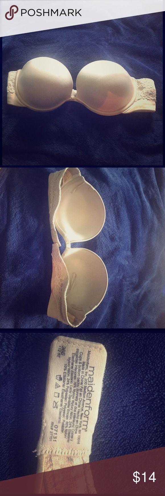 Strapless Bra It has hardly been used you can add straps on and it has a stick material on the back by the hooks so it won't fall down it will stay in place.  Accepting offers Maidenform Intimates & Sleepwear Bras
