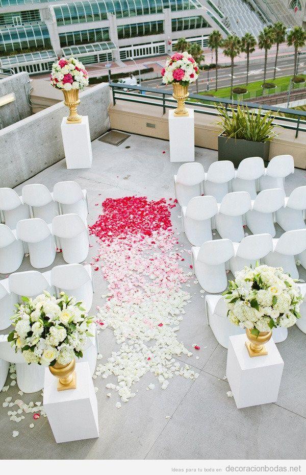 decoracin moderna y sencilla para boda en azotea de un edificio de ciudad