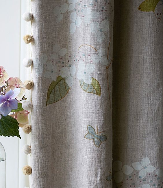 Hydrangea & Butterflies Linen Fabric and bobble trimming - Susie Watson Designs