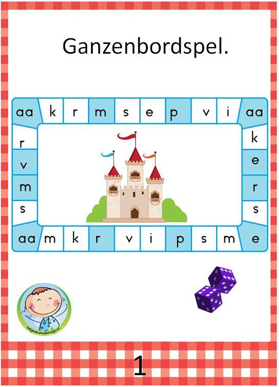 Aantrekkelijk pakket met veel leesspelletjes. Goed te gebruiken bij Kern 1 van VLL kim versie. Ganzenbordspel met letters. Bedenk een woord met die letter als je erop komt te staan.