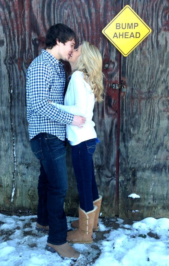 pre belly pic ideas for couples, bump ahead sign and poses, #pregnancy so cute!