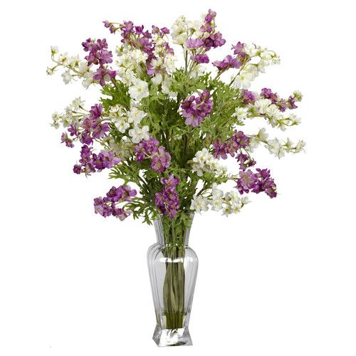 Features:  -Perfect flower for any occasion.  -Best of all, no watering needed.  -Perfect mix of greens and colored blooms.  Product Type: -Floral Arrangements.  Color: -Purples, Whites.  Size: -Large
