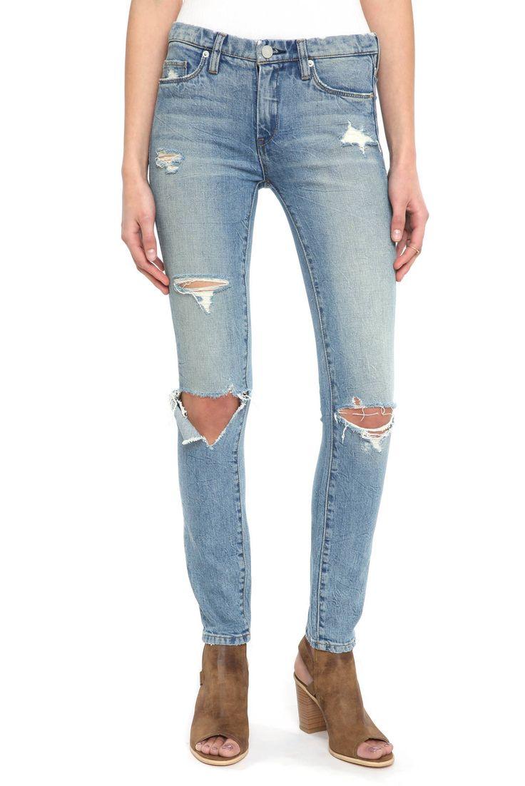 Blank Distressed Skinny Dipper Jeans in LIGHT DENIM