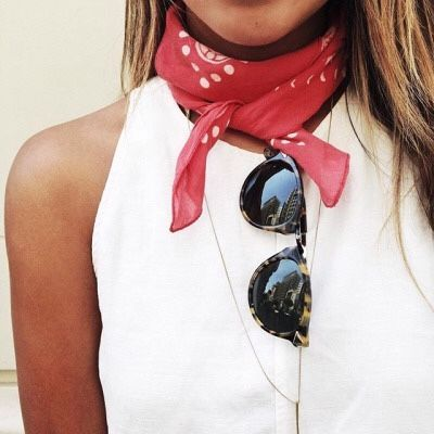 details. white + red. bandana scarf.