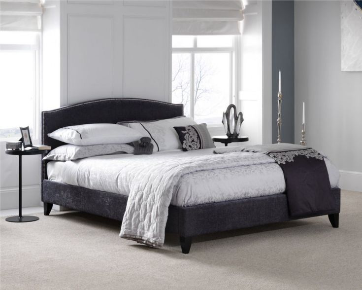 The Charlotte fabric bed frame in charcoal is a fabulous addition to any bedroom.  This luxurious bed frame features a soft chenille velvet fabric. Finished in an attractive charcoal colour.