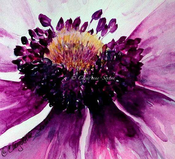 Anemone flower art  purple pink sweet blossom  by CheyAnneSexton
