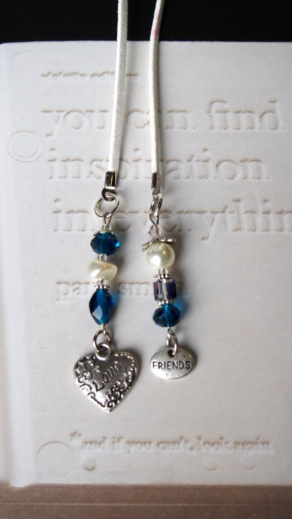 Friendsip Bookmark - Handmade Book mark for Books - Silver Heart Love Charm with Blue beads, Beaded bookmark, Book thong