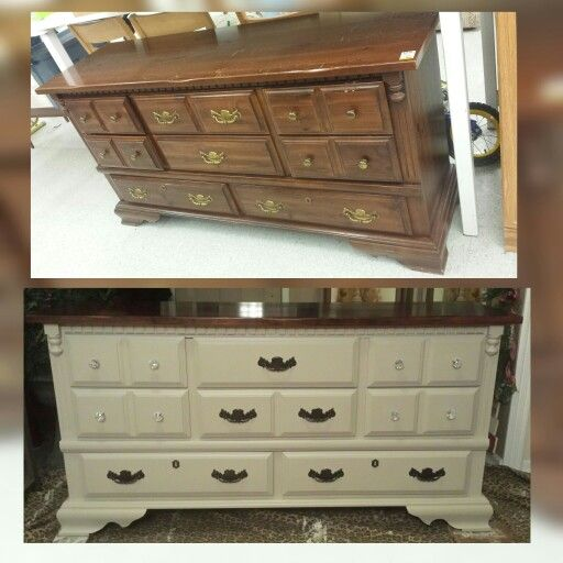 Thrift store dresser makeover! Stripped the top and restained in dark walnut and chalk painted the body. Crystal knobs were added for that extra sparkle. I am in love with this piece!
