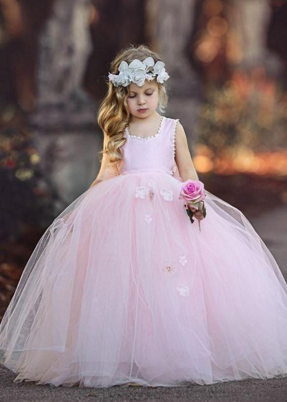 e4b0566ac5e Cheap Tulle Sleeveless Light Pink Princess Ball Gown Flower Girl Dresses  ARD1476-SheerGirl