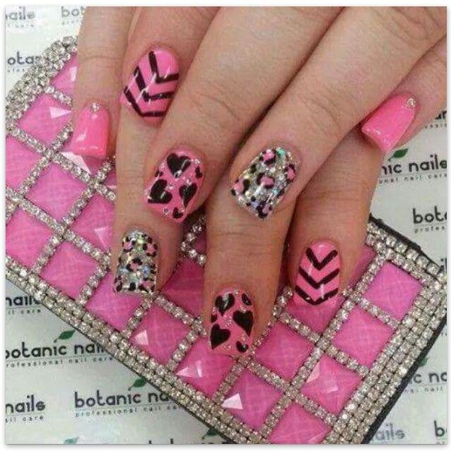 351 best nails images on pinterest nail art and nails pretty pink nails with cheetah print and hearts and lines prinsesfo Image collections