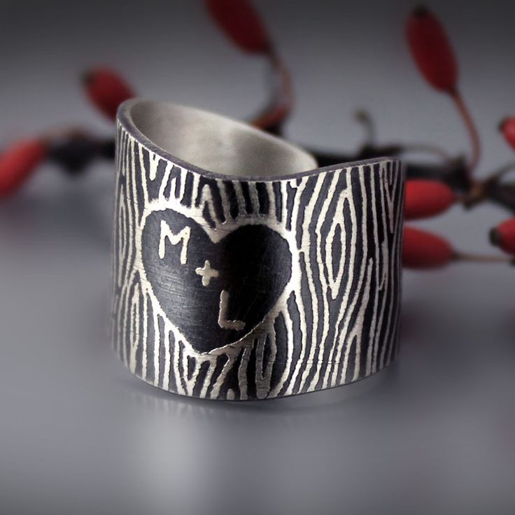 sterling silver carved initials ring by Lisa Hopkins Design