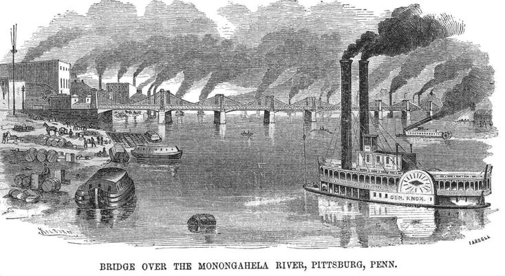"A river scene: Monongahela River, Pittsburgh, Pennsyvania. Shows steam ship ""General Knox"", wharf operations, a steel superstructure bridge, and numerous smoke stacks. Mr. Kilbert and ""Tarbell"" (possibly Edmund N. Tarbell) - Appeared in the Feb 21, 1857 edition of Ballou's Pictorial  [termo de pesquisa: imagens de cidade com fábricas de meados do século XIX]"