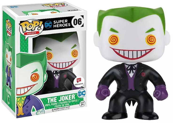 """TOY: Funko Pop! 3 3/4"""" Bobble-Head. CHARACTER: The Joker (Walgreens Exclusive). SERIES: DC Super Heroes. NUMBER: 06. PRICE: $25.00. RELEASE DATE: ABOUT THE JOKER: No one really knows his real name, but falling into a vat of chemicals has changed his appearance and drove him insane! The Clown Prince of Crime is the arch enemy of Batman. TEAM AFFILIATION: The Legion Of Doom. FIRST APPEARANCE: Batman # 1 Vol I (1940). This is a variant of, the Purple Suite."""