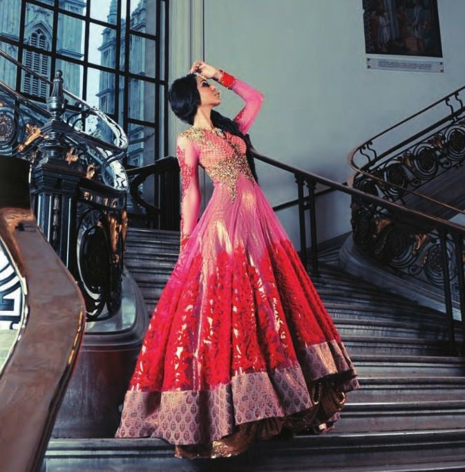 Pink and red lengha by Hare by Rohit Verma