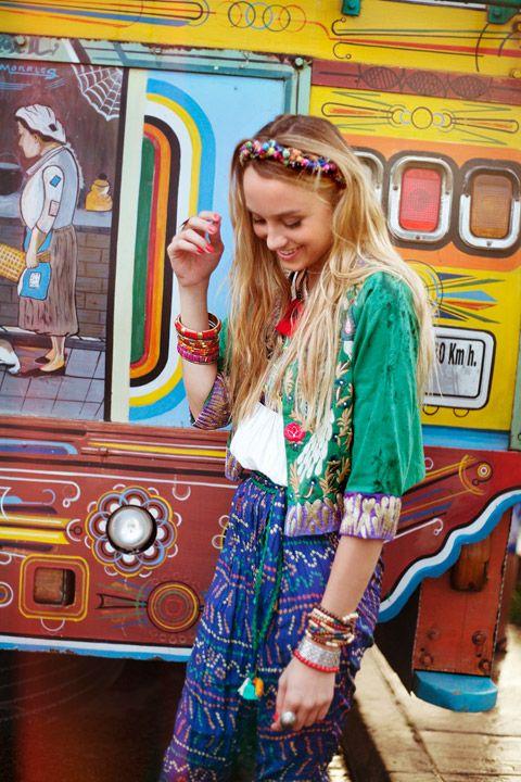 Glastonbury Festival Fashion Inspiration. hippie, bohemian, boho. Navajo, Aztek, colorful, embroiderym head band, head scarf