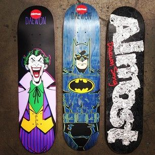 Here's a glimpse into what's coming later in 2014 for Almost Skateboards; 3 different graphics for Daewon Song. #Almost #Skateboards #DCcomics