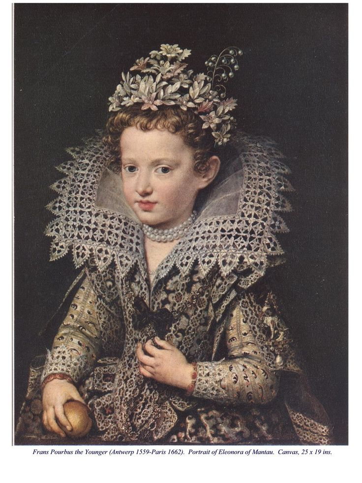 """""""Portrait of Eleonora of Mantua"""" by Frans Pourbus the Younger (1559-1622)  Portrait of child wearing a silk flower headdress."""