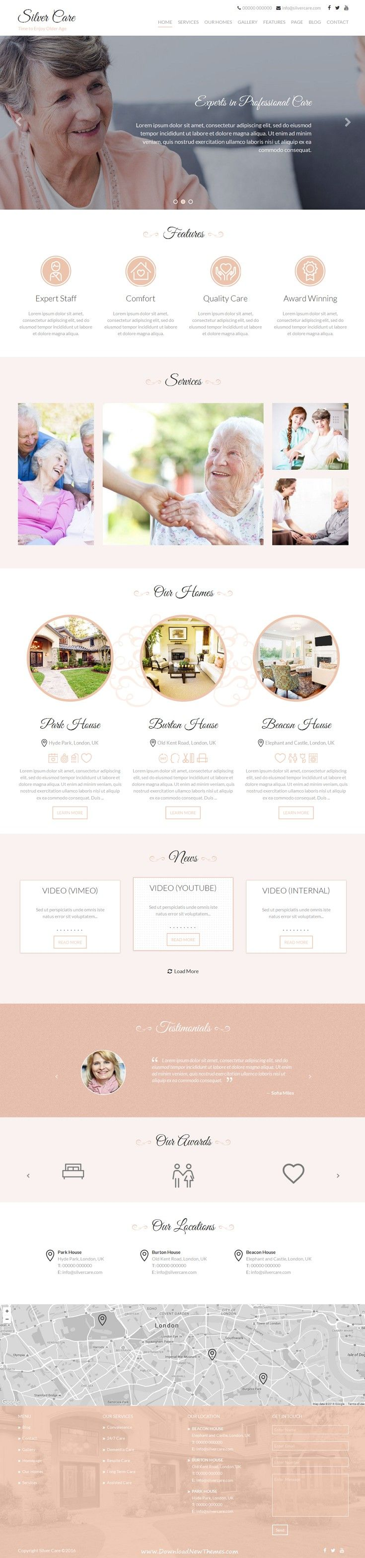 Silver Care is a premium WordPress theme designed for the #healthcare industry. The theme has a clean, modern and friendly design and is perfect for senior care services such as care homes, assisted living, #sheltered accommodation and medical care providers #website.