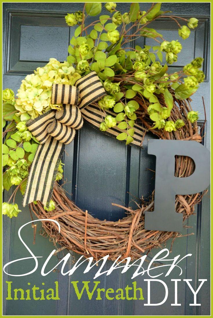 Summer initial wreath diy initials summer and summer wreath for Diy summer wreath