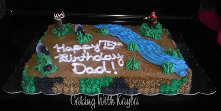 Turkey and Deer Hunting Cake - This is a birthday cake I was asked to make.  It's a sheet cake - half chocolate and half white cake.  It is decorated in buttercream.  The figurines are from some toy sets I bought online.