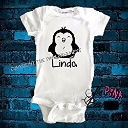 HANDMADE Penguin Penguins Personalized Name Onesie Baby Clothes Clothing child cute funny Unisex Boys Girls Newborn Infant Onesies Shower Gift Diaper Cover Clothes