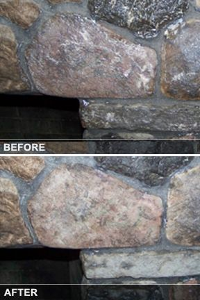 Re-pinned from our friend Melissa - Before and After - Stone fireplace cleaning