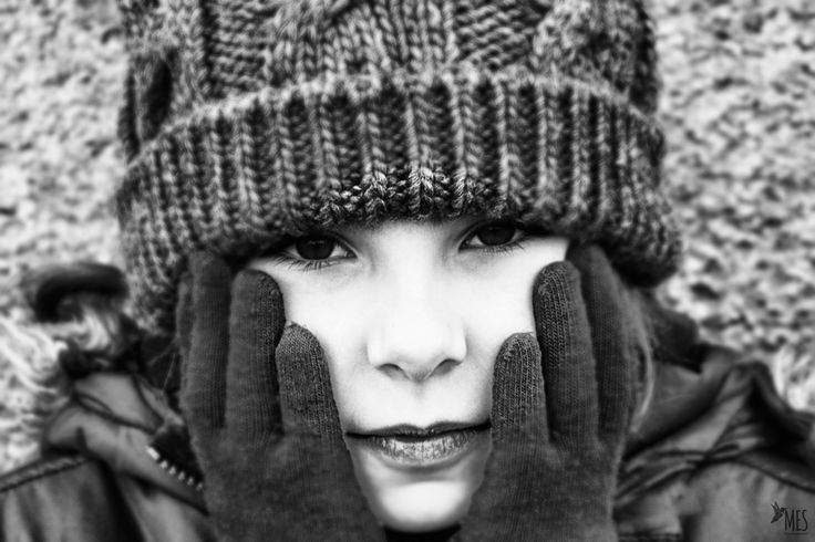 Cold cheeks. Portrait of child.