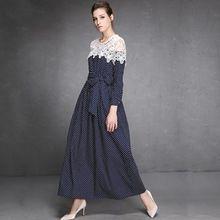 Платье кружево, европейский взлетно-посадочной полосы высокая улица женское классическая длинная рукава синий узор в горошек печать пэчворк макси(China (Mainland))
