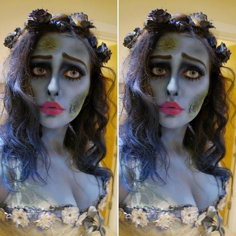 Corpse bride costume / Halloween makeup. Emily from Tim Burton Corpse Bride outfit. Zombie bride look. By @makeupformermaidss on Instagram