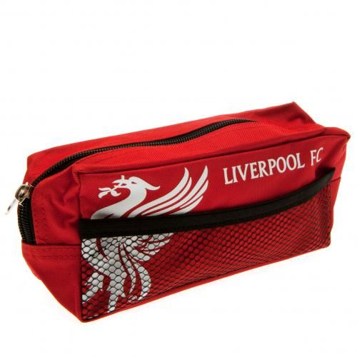 Large nylon Liverpool FC pencil case with mesh pocket on the side. In club colours and featuring the club crest on the front. FREE DELIVERY on all of our football gifts.
