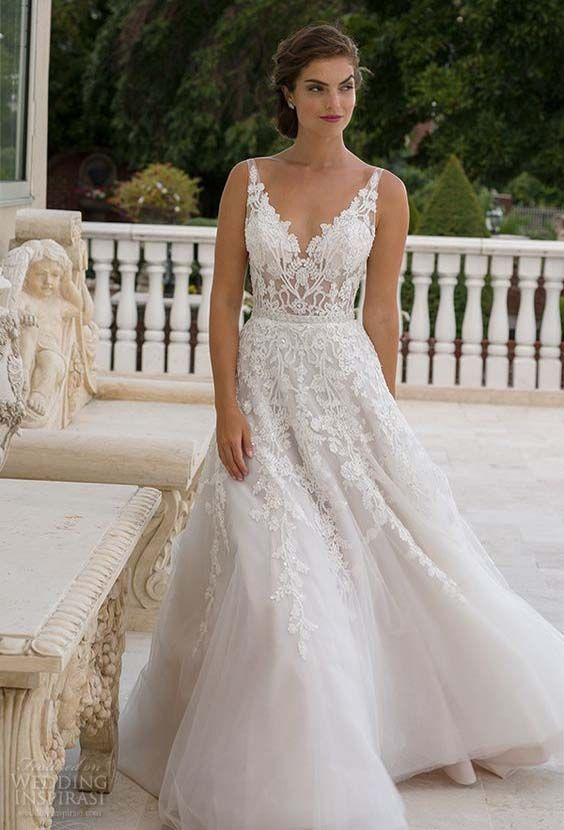 bridal v neckline lace embroidered bodice beautiful a line wedding dress