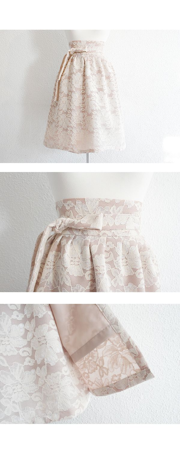 [16'Fall/Romantic Audrey] '문리버' 베이지 레이스 허리치마