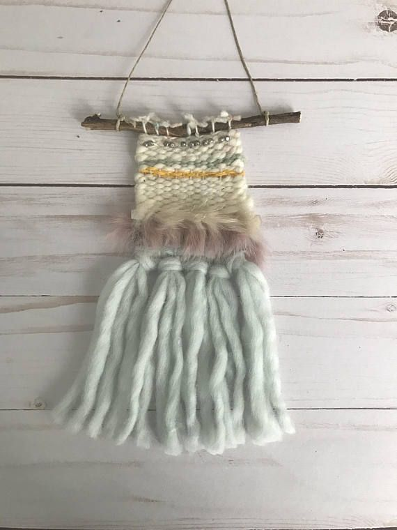 Hand Woven Boho Organic Mini Tapestry Car rear view mirror charm accessory friend gift in green cream pink yellow wool and fur on twig