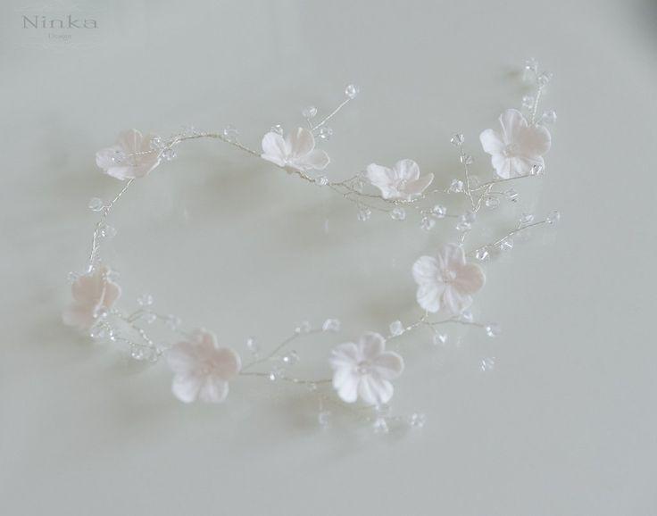 Isele - HIuskorunauha valkoiset kukat