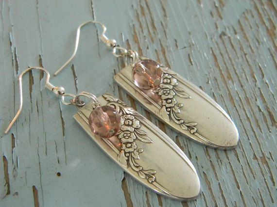 These earrings are created from vintage silver plated spoon or fork handles!   The delicate pink glass beads add just a touch of color.