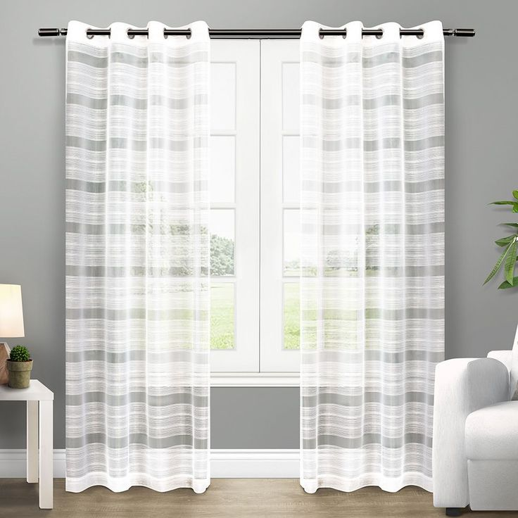ATI Home Michel Grommet Top Sheer Curtain Panel Pair (Michel White 108-inch) (Polyester, Stripe)