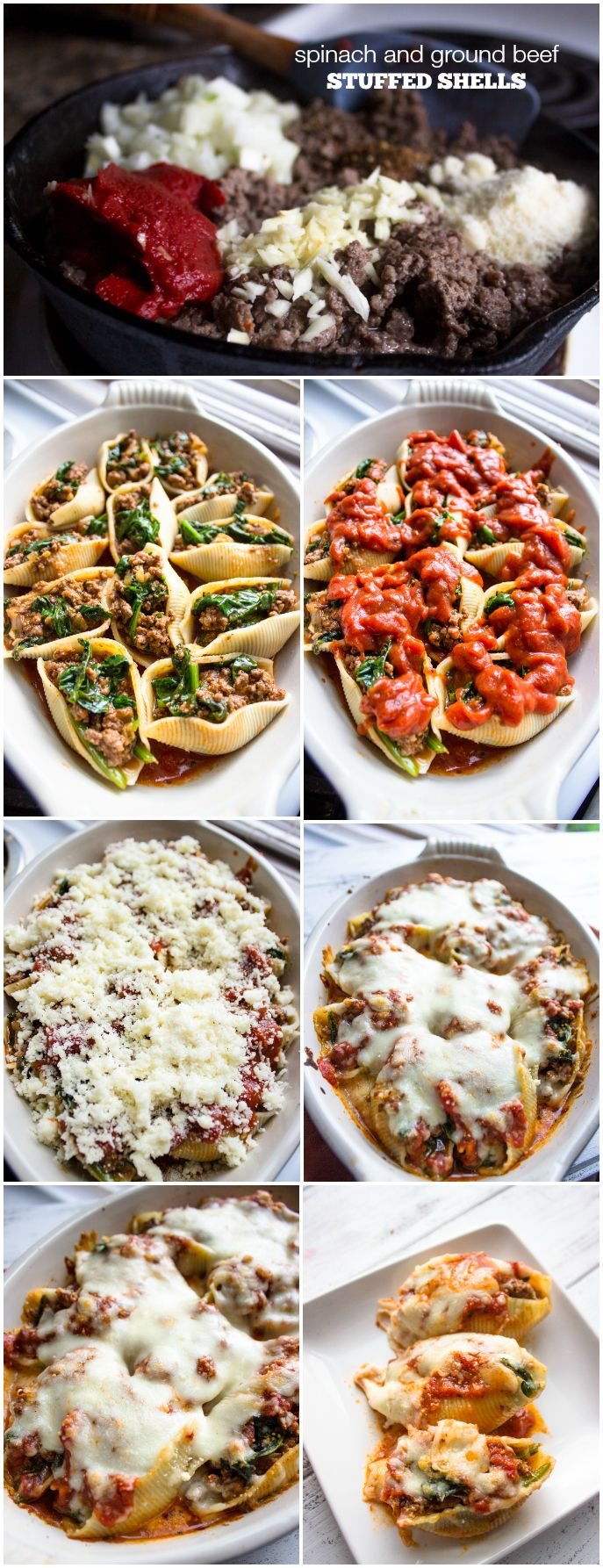 Spinach and Ground Beef Stuffed Shells   Brunch Time Baker