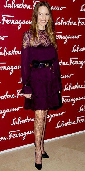 Hilary Swank in Salvatore Ferragamo: Beautiful Plum, Actresses Add, Fancy Fishnet, Ruffles Cuffs, Eggplants Dresses, Colors, Celebs Style, Black Pumps, Plum Dresses