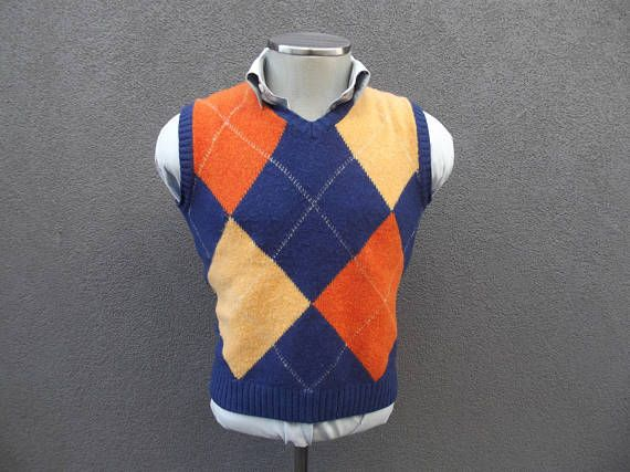 Colourful Sweater Vest Size Medium Med / Vintage Argyle Vest / Knitted / Knit Vest / Sleeveless Sweater / Autumn Fall Vest / Made in Italy