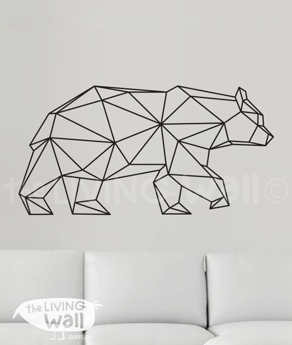 Geometric Bear Wall Decal, Geometric Bear Decals, Bear Home Decor Wall Decals, Geometric Bear Vinyl Wall Stickers by LivingWall on Etsy https://www.etsy.com/listing/241396100/geometric-bear-wall-decal-geometric-bear