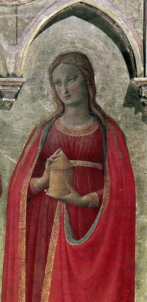 Fra Angelico, Triptych of Cortona (Cortona, 1430-36, det. of Mary Magdalene with Vase)   da Ark in Time