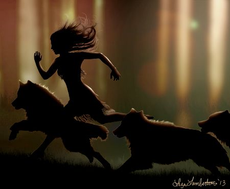 "Faeriewood - Running with wolves by Liza Lambertini.  This is how I feel when I'm running and listening to ""Hungry Like the Wolf"" on my MP3 player."