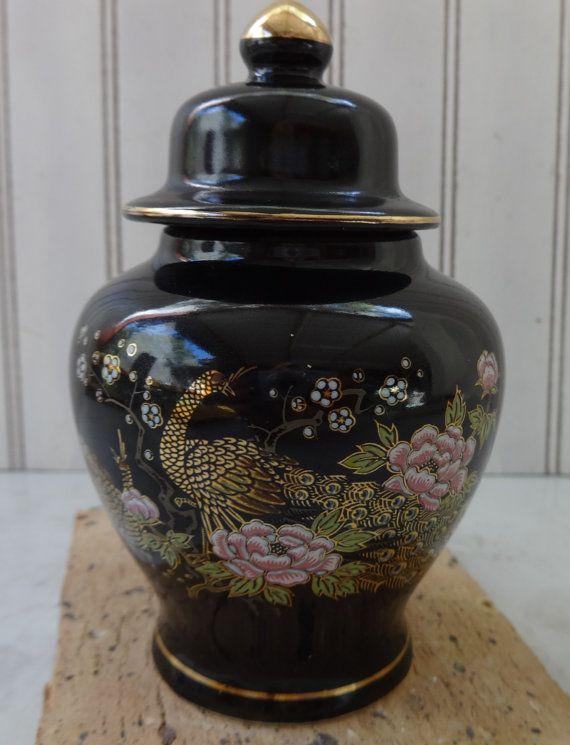 Zwarte Peacock Jar, Aziatische Jar, gember Jar, Vintage Aziatische vaas Vintage keramische vaas, Decor van het huis Accent vaas, House Warming cadeau, cadeau idee