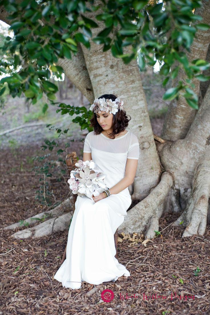 Image Jennifer McCue Photography Wedding flowers; fabric floral bouquet, boho eco wedding style