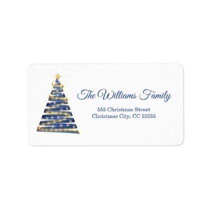 Simple Royal Blue Christmas Tree Address Label - christmas cards merry xmas family party holidays cyo diy greeting card