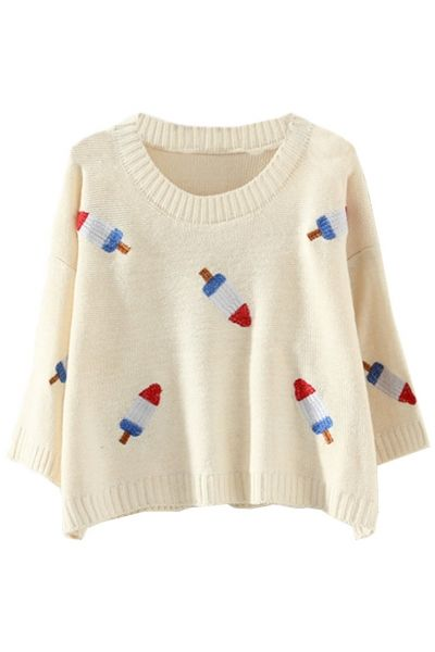 Graphic Popsicle Cropped Knit SweaterOASAP Giveaway, 10 pieces per day, till the end of 2014! Easiest way to get free clothing!