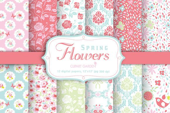 Spring flower Digital Papers Pack by CLIPART GARDEN on Creative Market