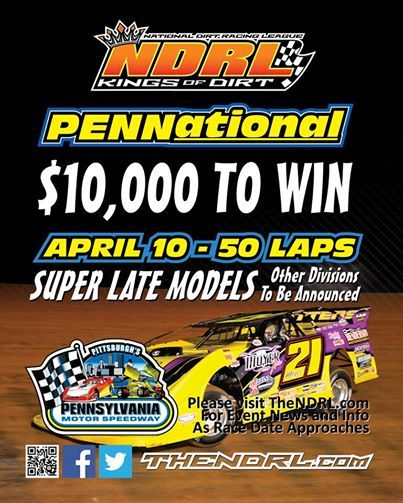 NDRL at Pittsburgh's Pennsylvania Motor Speedway Thursday April 10!