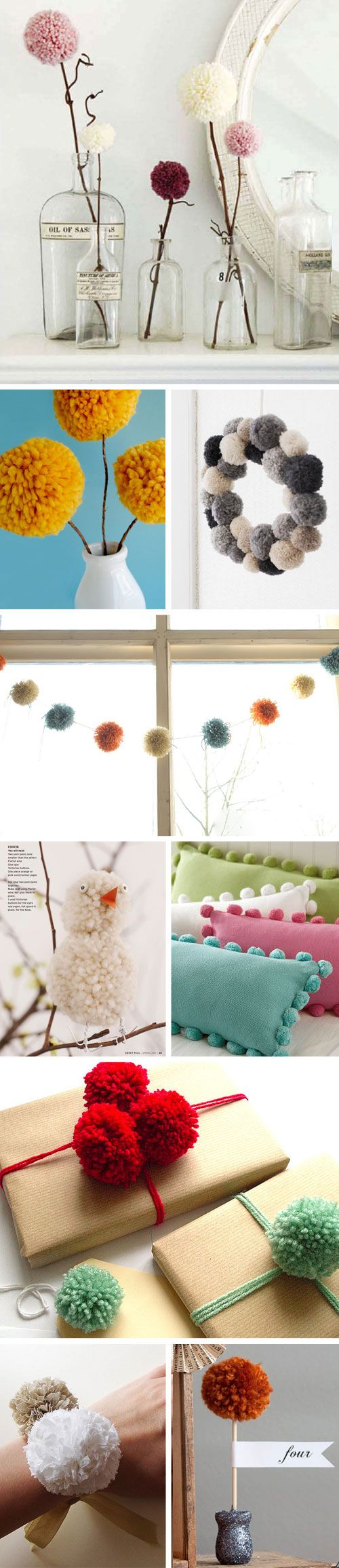 pom pom ideas. not a huge fan of most of the yarn poms but can probably use these ideas with paper ones.