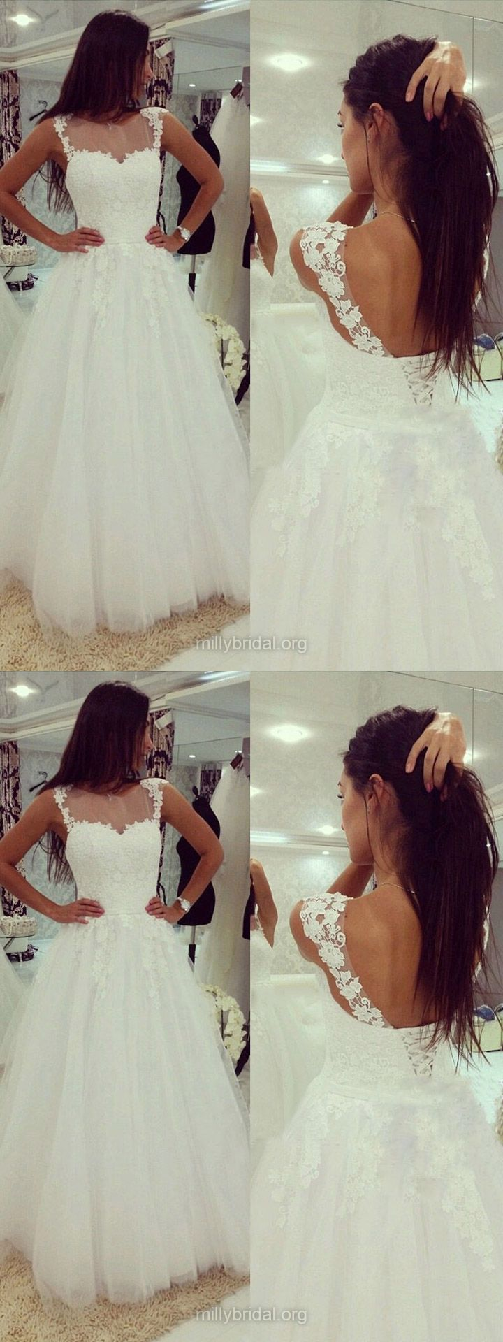 White Wedding Dresses Lace, A-line Wedding Dresses Scoop Neck, Cheap Bridal Gowns Tulle Appliques Modest